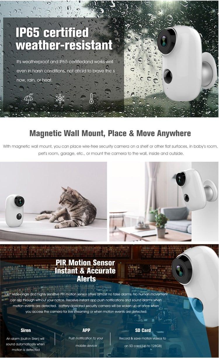 Belaidė Wi-Fi lauko vaizdo stebėjimo kamera su baterija