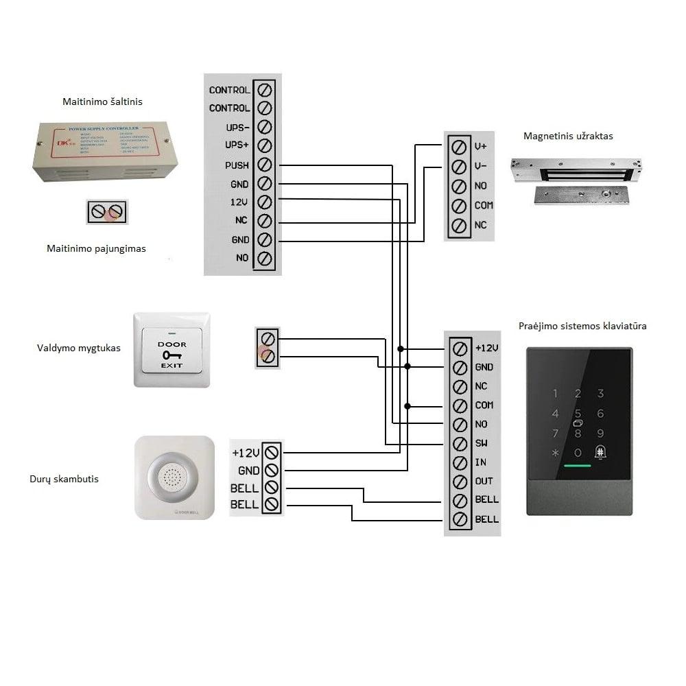 TTLOCK praejimo sistemos pajungimo schema